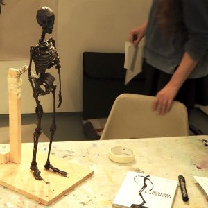 "Teenagers make observational drawings of a 1/4 life size model of a skeleton to understand the structure of the human body and looked at work by Alberto Giacometti and Henri Matisse.  [themify_button style=""xlarge block"" link=""https://www.accessart.org.uk/beginning-with-bones/"" color=""#78608e"" text=""#ffffff""]Read More[/themify_button]"