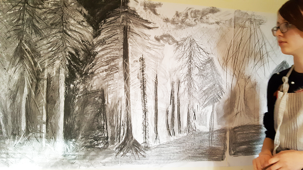 Winter trees in charcoal