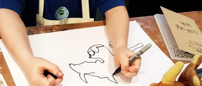 "Explore the mark making of illustrator Maurice Sendak, and make ""Wild Thing"" drawings inspired by soft toys"