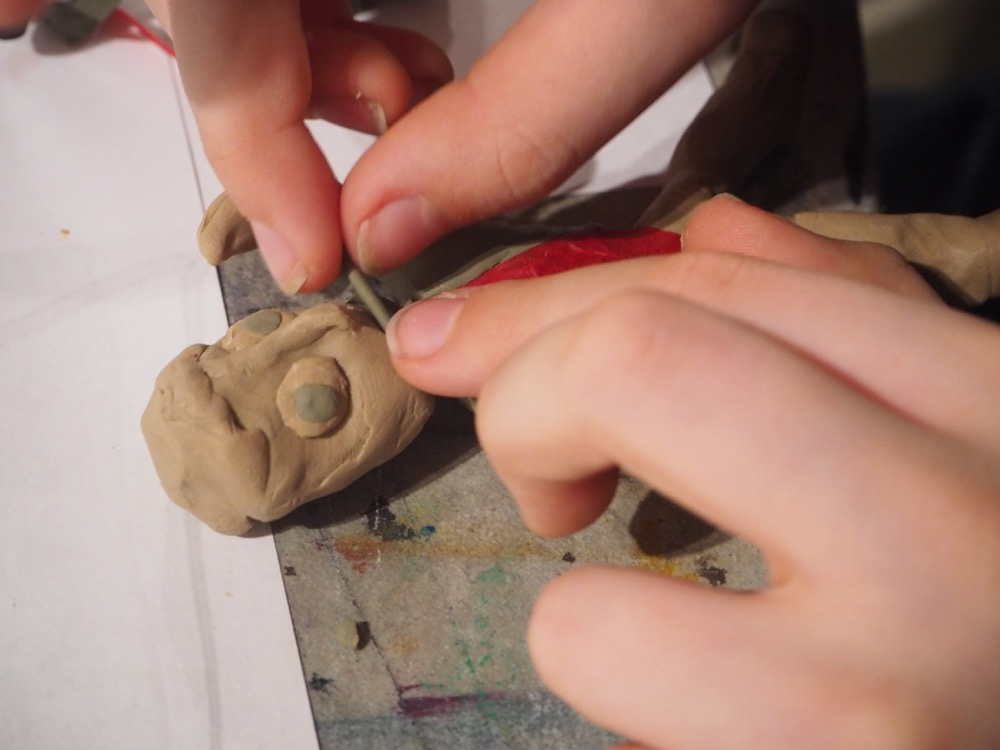 Adding Tone by Using Different Colours of Clay and Tissue Paper