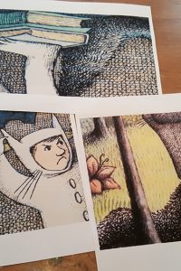 Close up copies of images of Where the Wild Things Are by Maurice Sendak