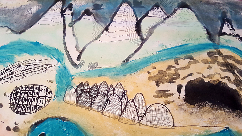 Imagined landscape drawing inspired by Maurice Sendak