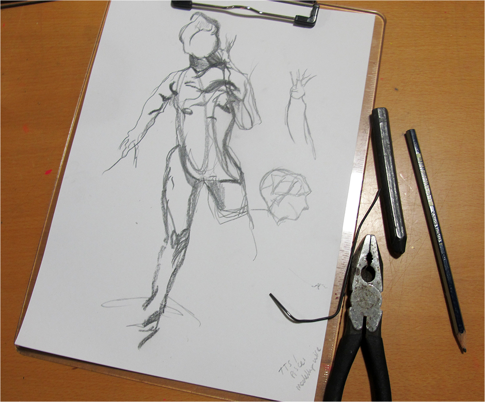 Line drawing as inspiration for sculpture