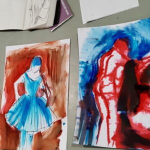 Drawing and painting inspired by Degas