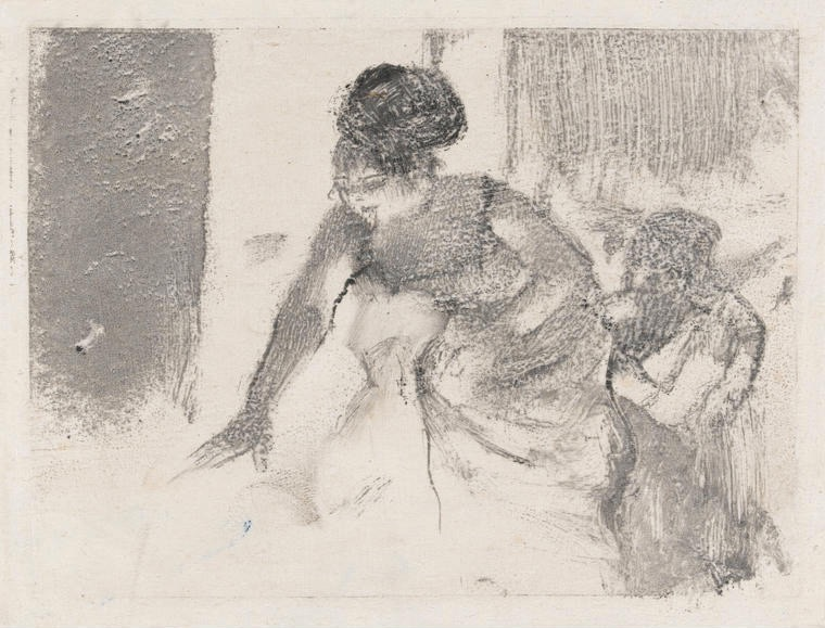 Chanteuse du Café-Concert, by Degas - Black carbon ink on India paper, height 138mm, width 182mm, 1877.