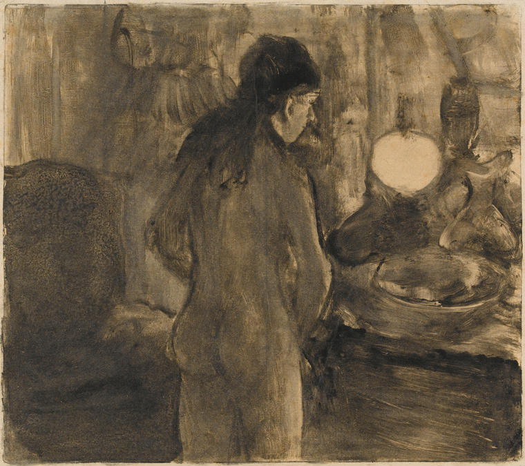 Femme à sa Toilette (La Cuvette)- monotype made in circa 1880 — 1883 by Edgar Degas, French artist, 1834-1917