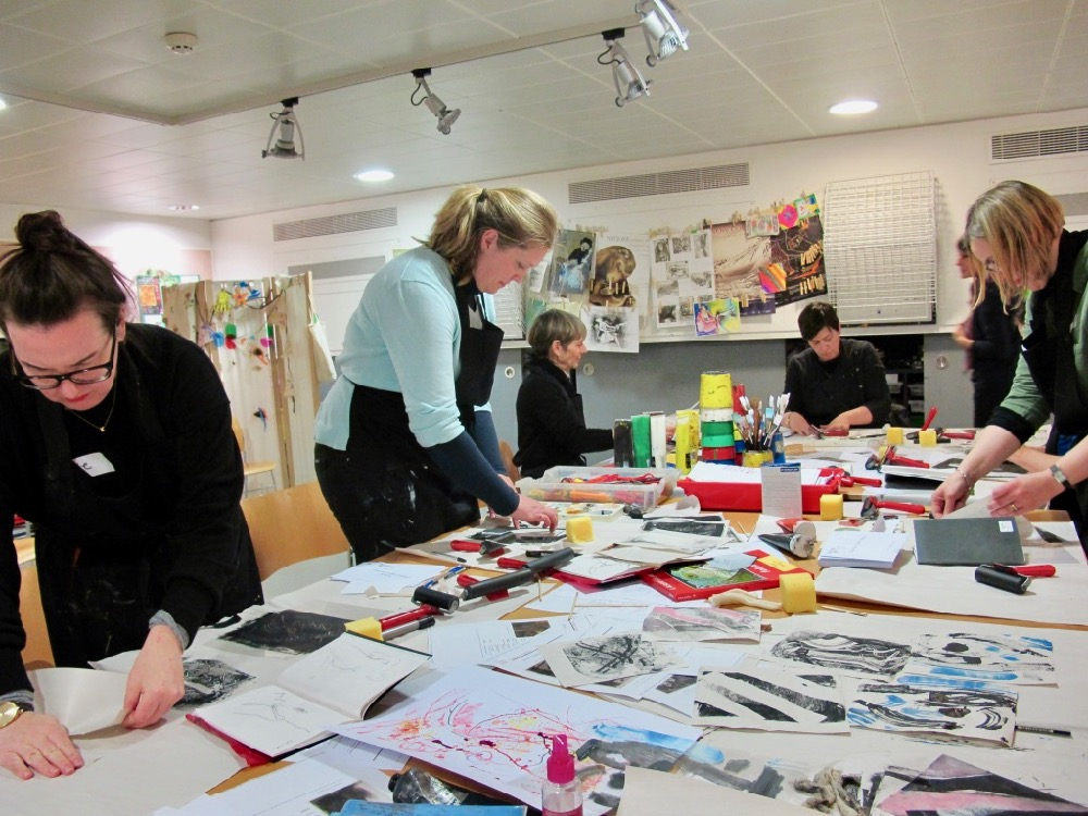 Teachers during the Degas's Inky Drawing workshop in full flow in the studio- SC Fitz