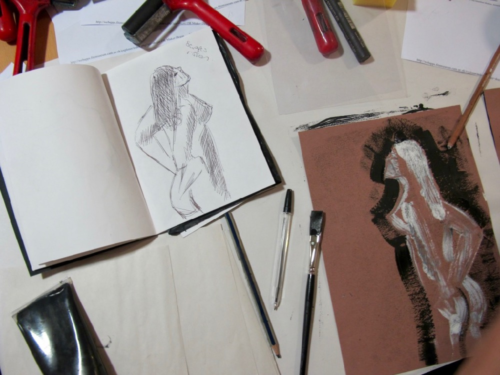 From sketchbooks and drawing on the gallery floor to finished mono-prints - SC Fitz