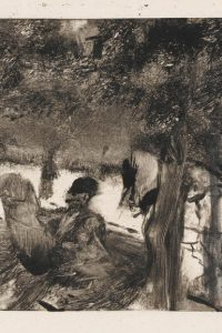 """L'Avenue du Bois""  - The Avenue of Trees in the Bois du Boulogne, by Degas, Edgar; French artist, 1834-1917; Black carbon ink on India paper, height 118mm, width 161mm, circa 1880."