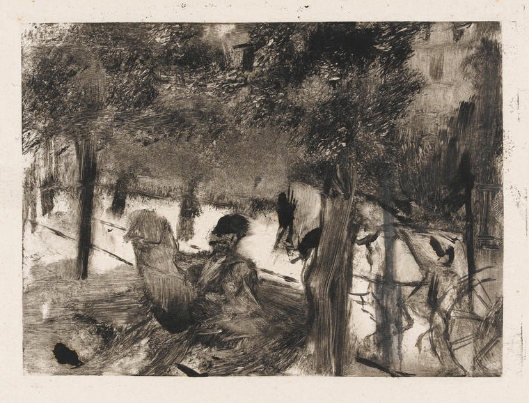 """L'Avenue du Bois"" by Degas, Edgar; French artist, 1834-1917; Black carbon ink on India paper, height 118mm, width 161mm, circa 1880."
