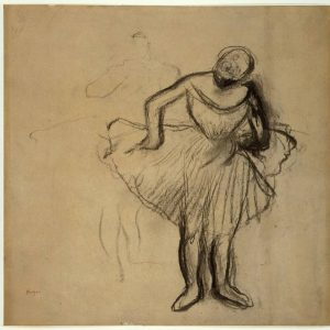 Study of Two Standing Dancers, charcoal drawing by Edgar Degas made circa 1889.