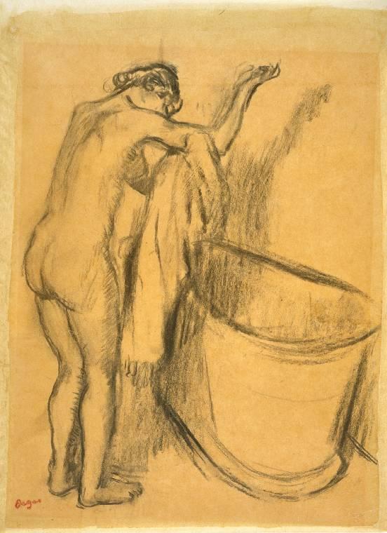 Après le Bain, charcoal drawing by Edgar Degas, 1834-1917