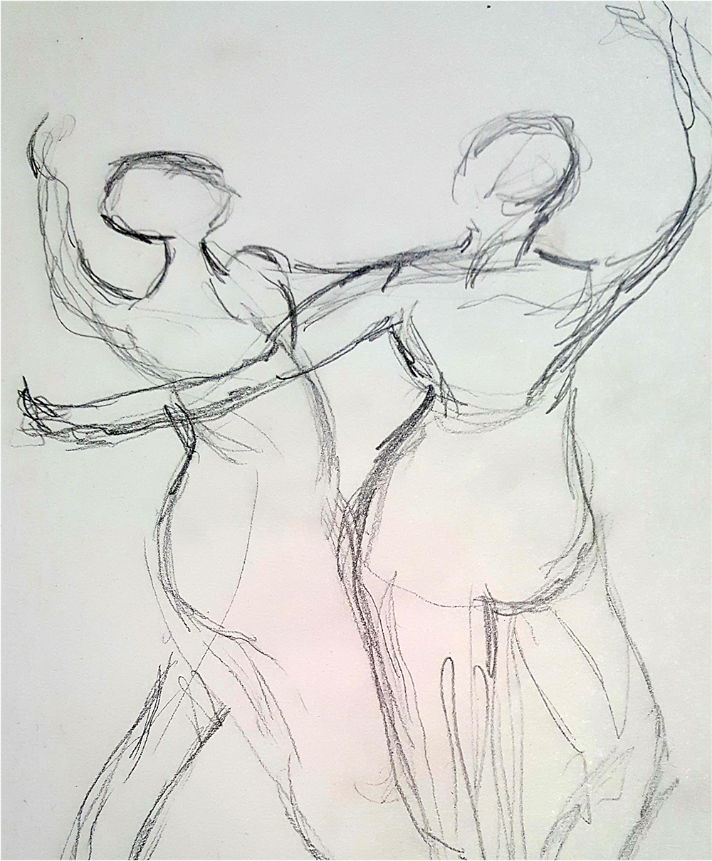 Line drawing by workshop participant of Sculpture by Degas