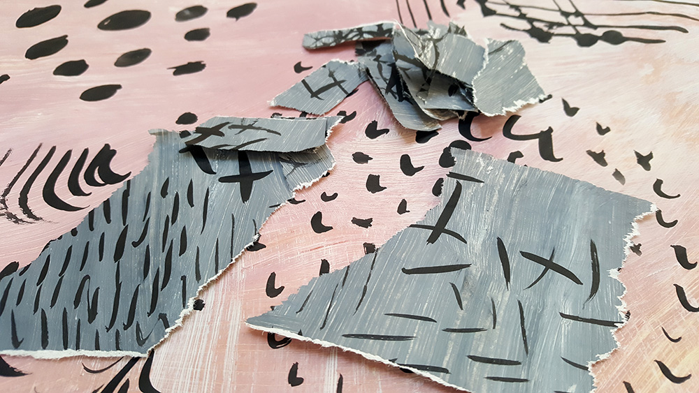tear up pieces of patterned paper