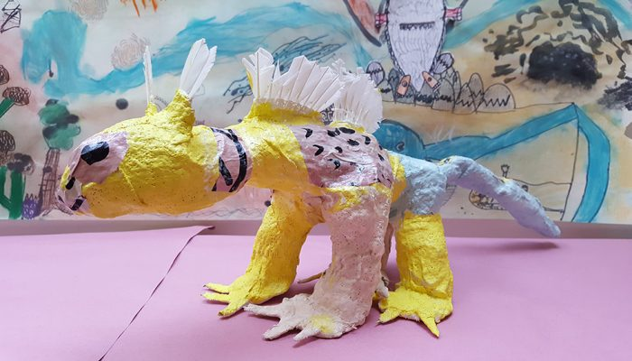 "Cover your armature with modroc and collage to give your ""Wild Thing"" sculpture character!"