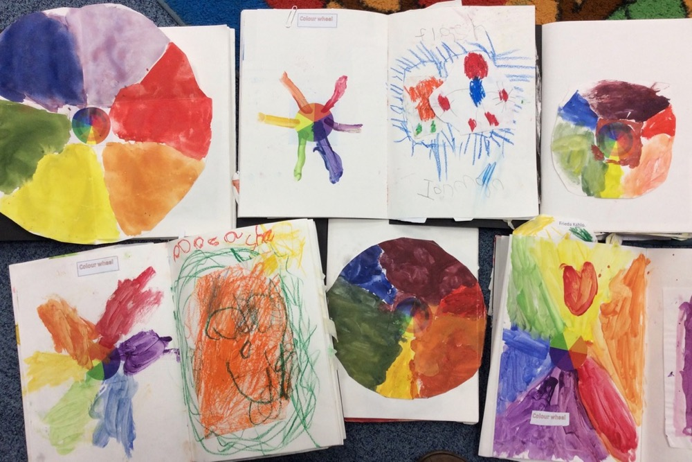 Different personalities shining through in the sketchbooks of class 1 pupils aged 4 to 7 years