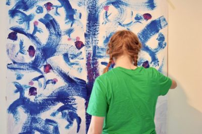 Inspired by the spring, teenagers work on a large scale in red (magenta), cyan (blue) and process yellow.