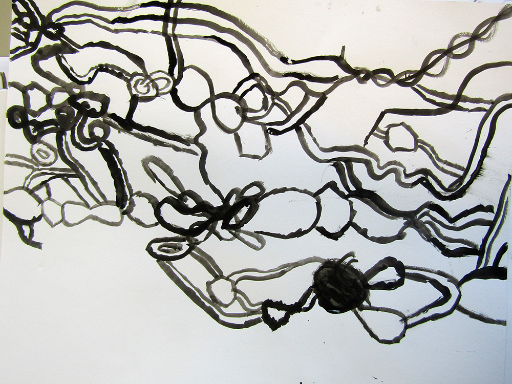 Drawing knitting – A2 size, selecting from Indian ink, paint, printing ink and using asst. tools other than brushes!