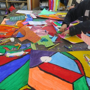 Choices of collage – ready-made colour and pattern.