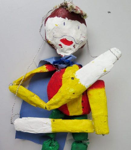 Children make jointed puppets in response to a painting