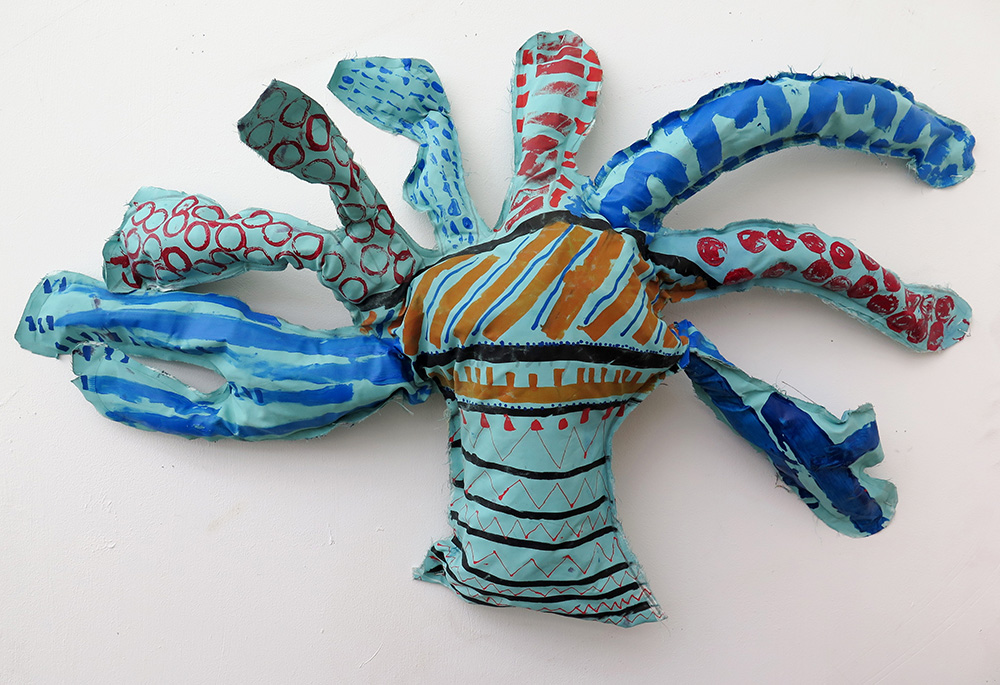 The Sea. Found and recycled materials- foam, old shirts, plaster, pillowcase stuffing, beach combing.