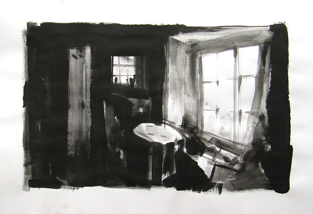 'Inside the Cabin at Bucks Mills', acrylics by Hester Berry