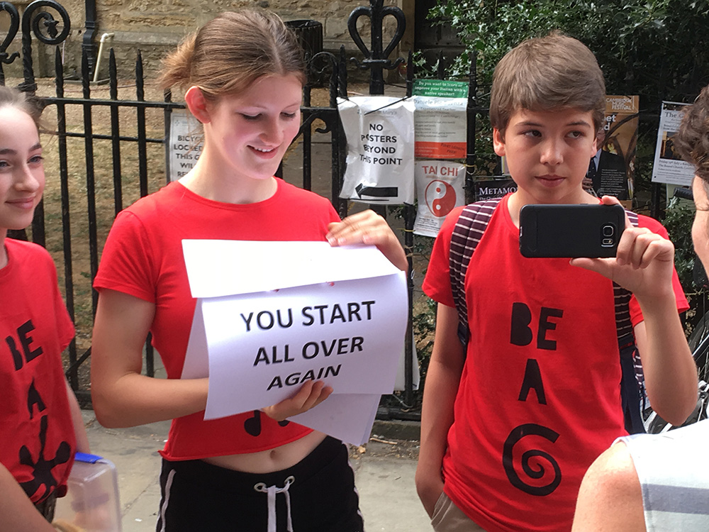 Teenagers hit the streets of Cambridge to film the public