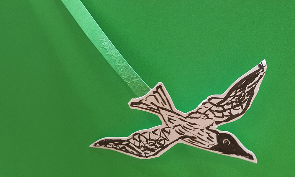 Flying green screen bird