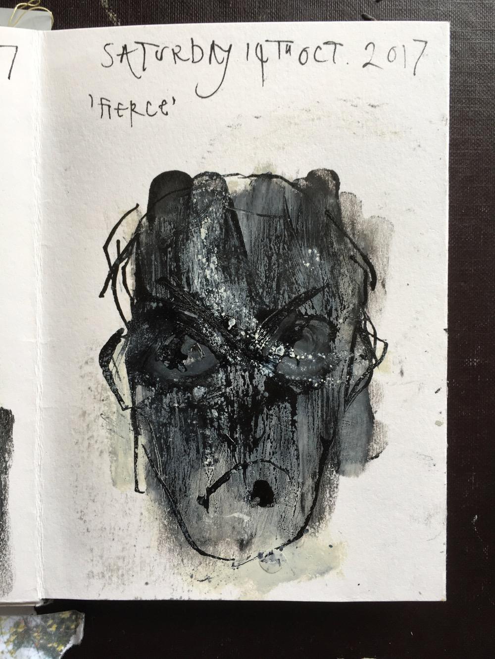 Day 14: 'Fierce', Inktober Challenge, by MoragThomson Merriman