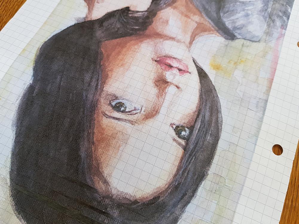 Photocopied watercolour portrait