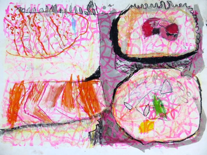Pupils learn from another culture by creating colourful, large-scale mixed media drawings inspired by food from Japan
