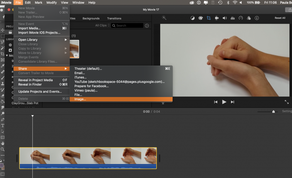 Extracting images in iMovie