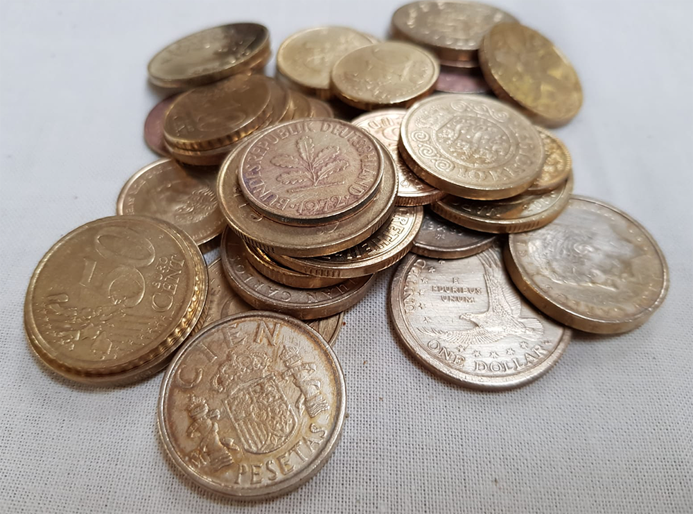 polished coins