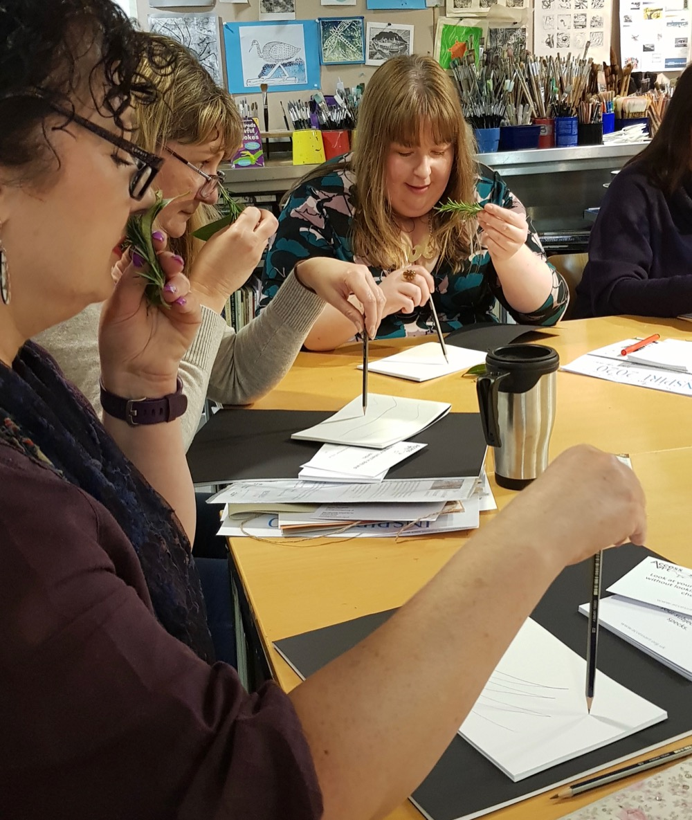 Teachers are transported to the Mediterranean with the scents of Italian herbs on a guided drawing exercise