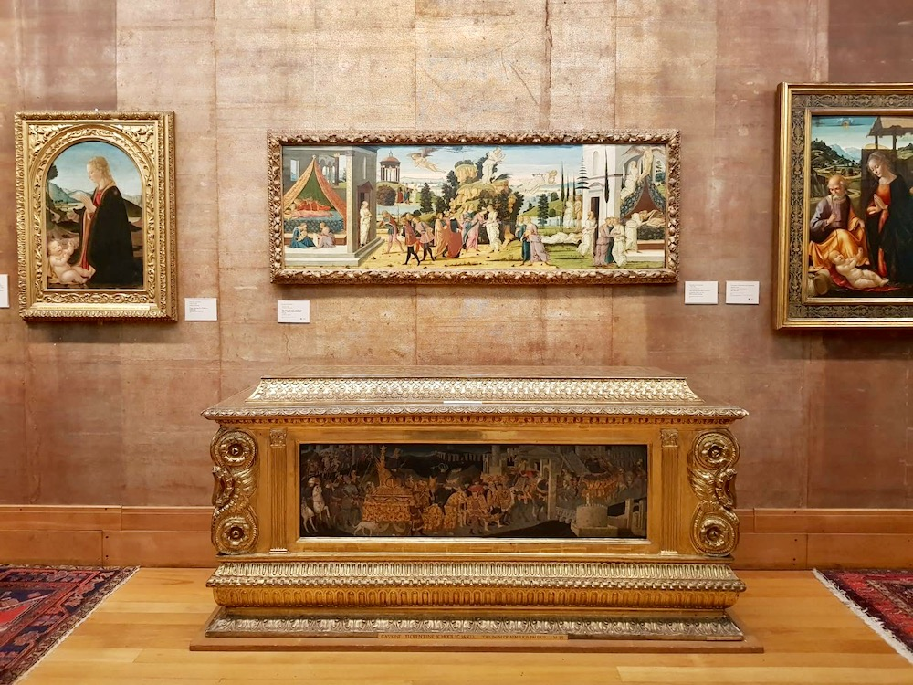 Jacopo del Sellaio's Cupid and Psyche painting at the Fitzwilliam Museum, Cambridge and a gilded 'Cassone' or wedding chest and panel