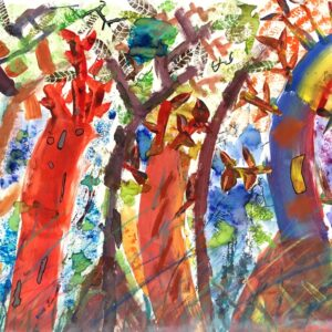 Painting a rainbow forest
