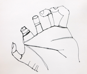 Making simple continuous line drawings of cupped hands.
