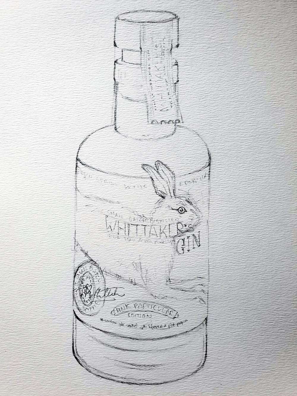 Developed sketch still life bottle
