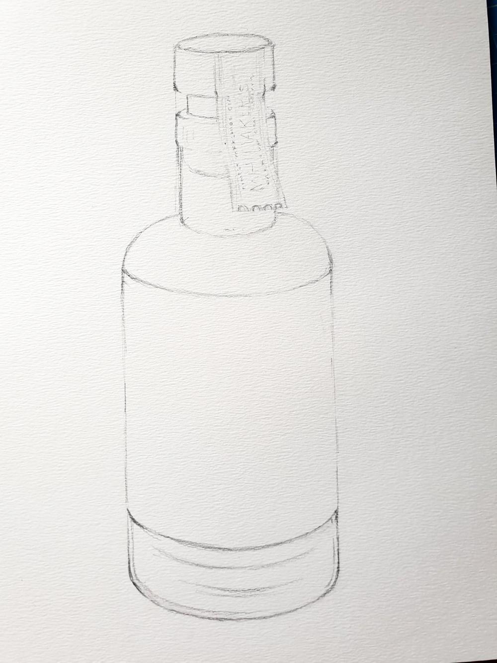 Initial sketch still life bottle