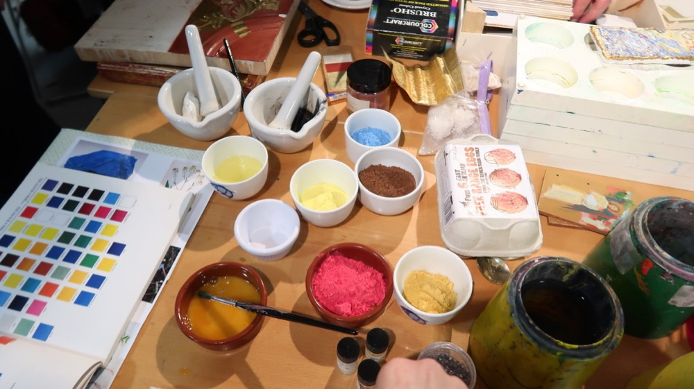 Selection of powder paints and ground charcoal and chalk to mimic the Renaissance palette