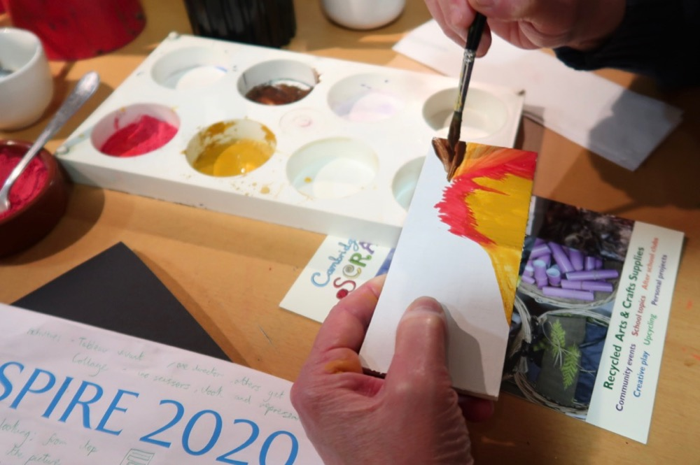 Teachers playing with egg tempera and colour