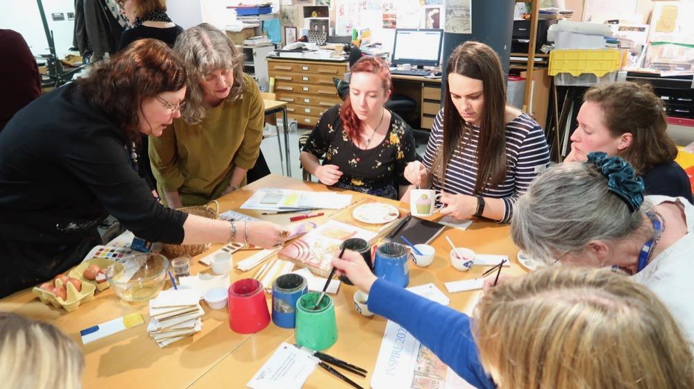 Alison introducing teachers to egg tempera