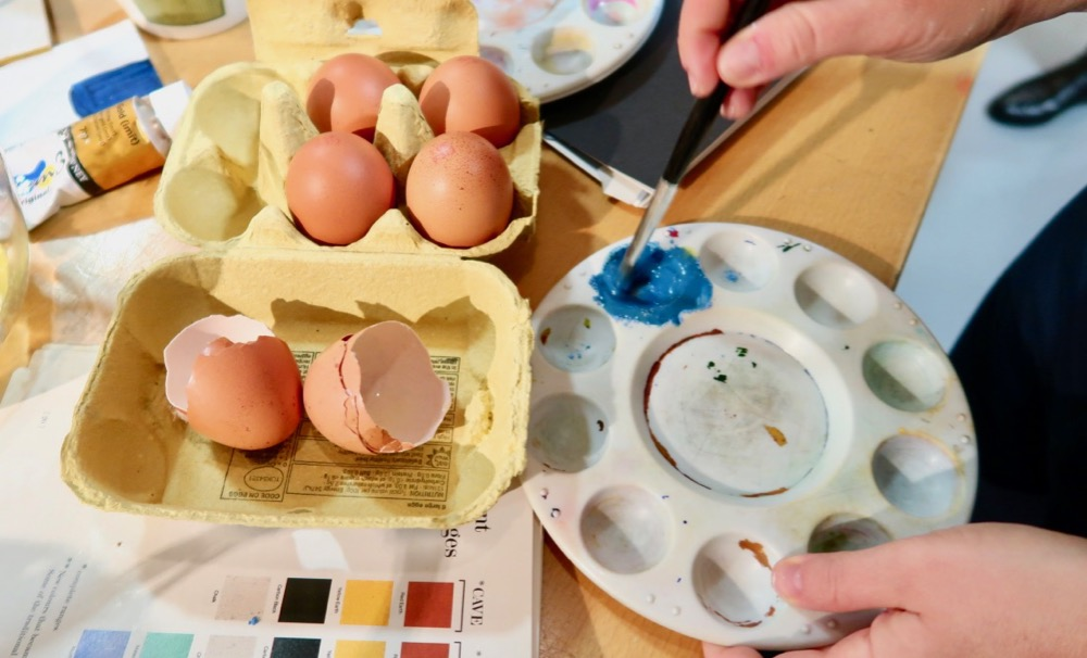 Experimenting with egg tempera