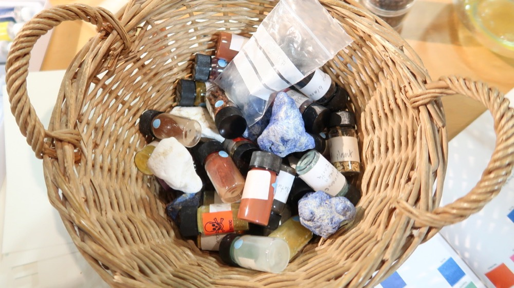 Samples of precious stones and rocks which would have been ground down to create pigments