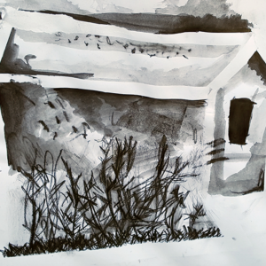 "Sellotape, water soluble graphite and brushes and went into the landscape to create wonderfully energetic sketches, in just over an hour.   [themify_button style=""xlarge block"" link=""https://www.accessart.org.uk/graphite-sketches-of-artist-retreats/"" color=""#78608e"" text=""#ffffff""]Read More[/themify_button]"