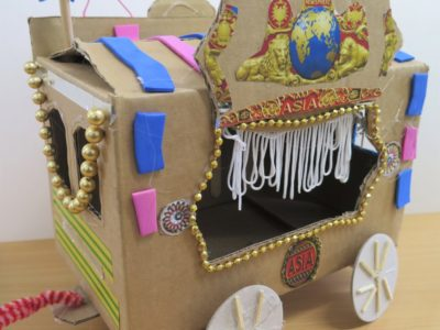 Circus wagon made from found materials