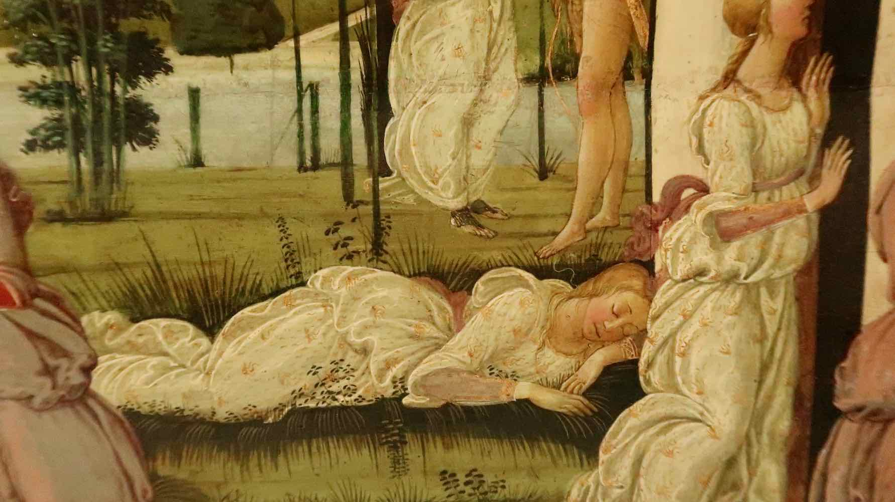 Psyche lands on a soft bower - a detail in a painting by Del Sellaio of Cupid and Psyche painted in 1473