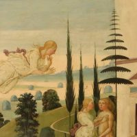 Psyche is blown off the hill by Zephyrus the wind - a detail in a painting by Del Sellaio of Cupid and Psyche painted in 1473