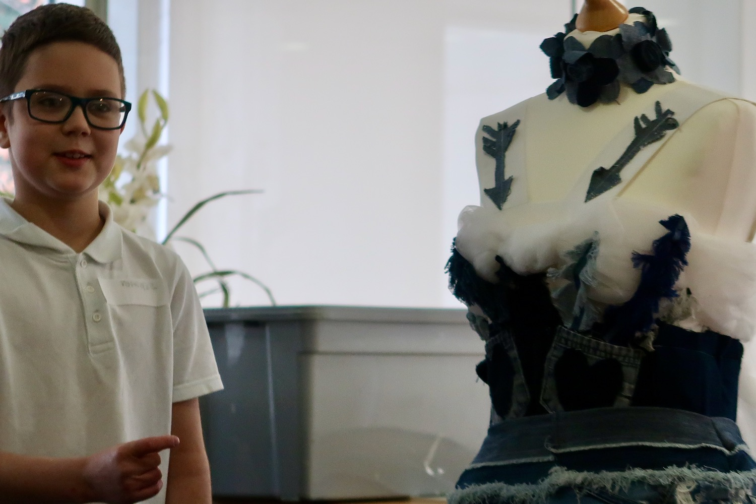 The pupils then went back to the seminar room where they were able to look at Psyche's Dress made by the Fitzy Peters