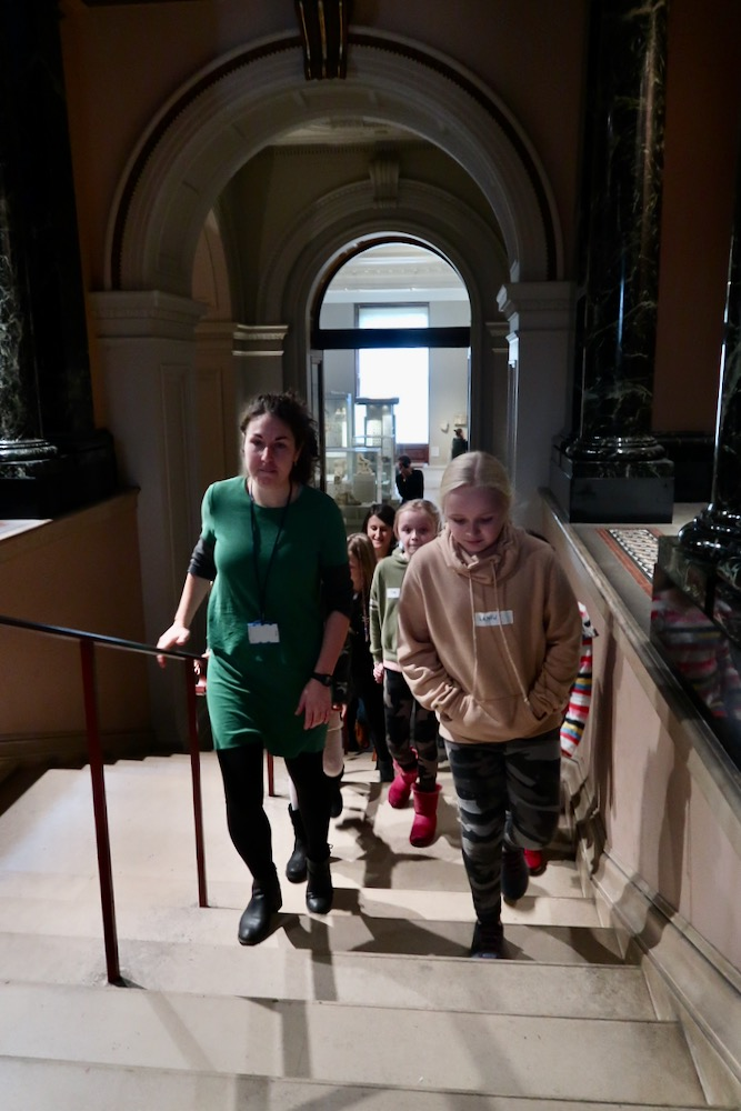 Pupils arrive at the Fitzwilliam Museum, Cambridge and are greeted by education officer Holly Morrison